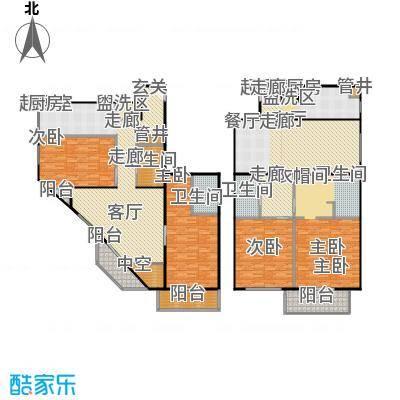 SOHO现代城140.00㎡二室二厅二卫户型