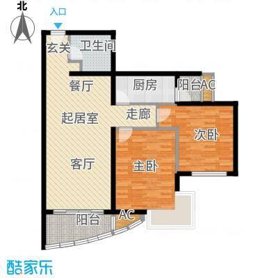 万润风景91.66㎡1号楼T1户型平面图2室2厅1卫户型