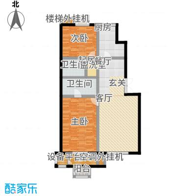 远洋自然112.73㎡7号楼B2户型二室二厅二卫户型