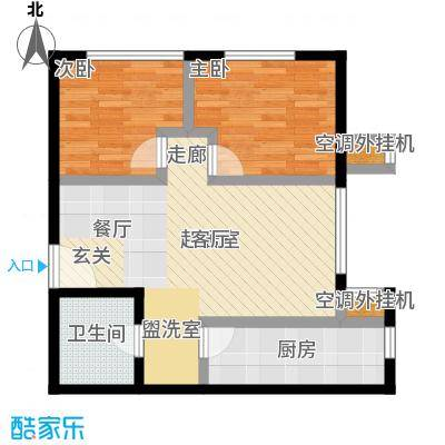 远洋自然79.02㎡10号楼3单元-B1户型一室二厅一厨一卫户型