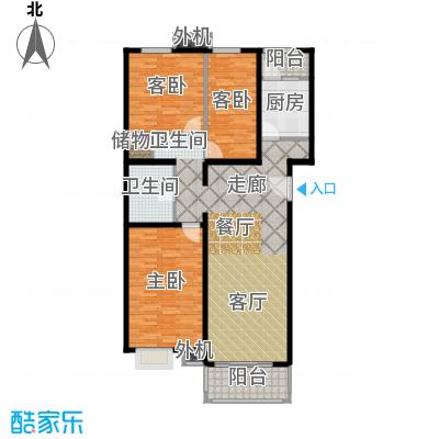京品107.56㎡三室两厅一厨一卫户型