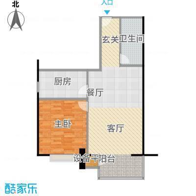 远中悦麒会馆70.33㎡B户型一居室户型