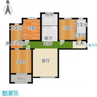 丛台花园三室两厅两卫 131.29平米户型