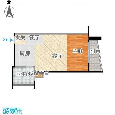 远中悦麒会馆59.49㎡B户型一居室户型