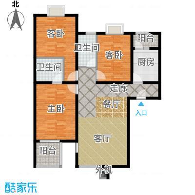 京品102.55㎡103号户型三室两厅一厨两卫户型