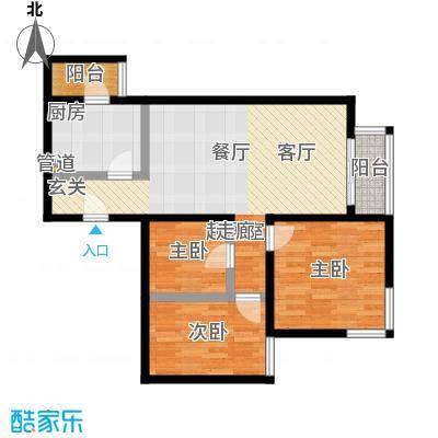 丽泽雅园78.48㎡两室一厅一卫户型