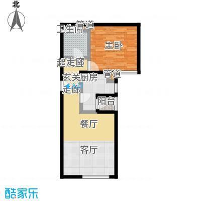 丽泽雅园57.64㎡一室一厅一卫户型