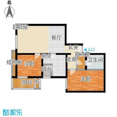 丽泽雅园106.75㎡二室二厅一卫一厨户型