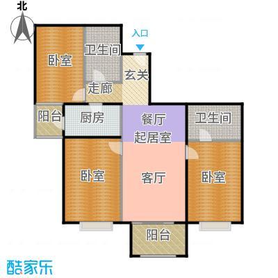 首座绿洲(三期)126.86㎡三室两厅两卫户型