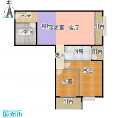 首座绿洲(三期)114.83㎡两室两厅一卫户型