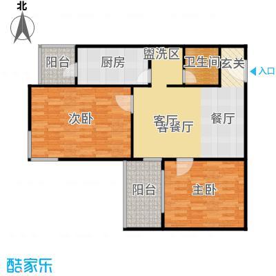 望园东里82.89㎡2室1厅1卫1厨户型