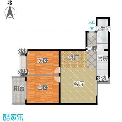 天创公馆B-3户型二室二厅一卫户型