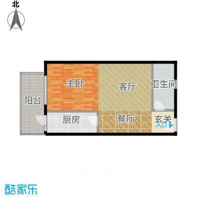 天创公馆A-3户型一室一厅一卫户型