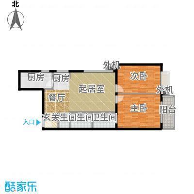天创公馆A-4户型二室二厅二卫户型