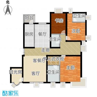 茂华�都会157.09㎡3a1'三居户型3室1厅3卫1厨