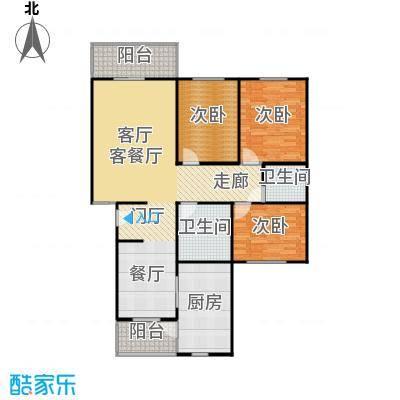 千禧家园134.31㎡B户型3室1厅2卫1厨