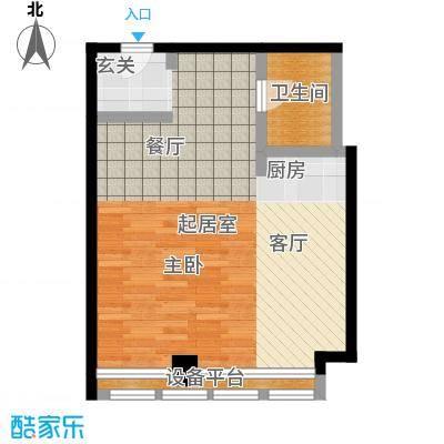 博雅国际中心77.72㎡B户型一室一厅一卫户型
