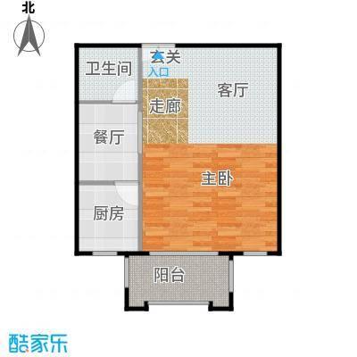 方庄6号1#楼A1户型一室一厅一卫户型