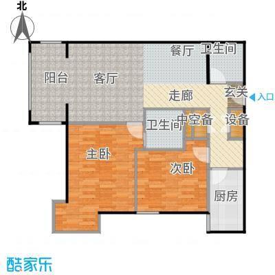 方庄6号1#楼E户型二室二厅二卫户型