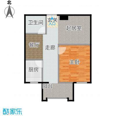 方庄6号A户型一室一厅一卫户型