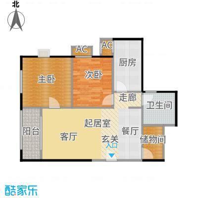 圣淘沙86.92㎡5号楼D户型二室二厅一卫户型