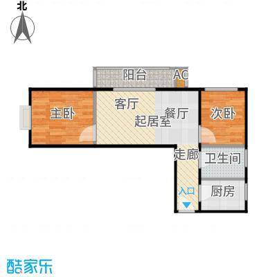 圣淘沙87.23㎡5号楼A户型二室一厅一卫户型