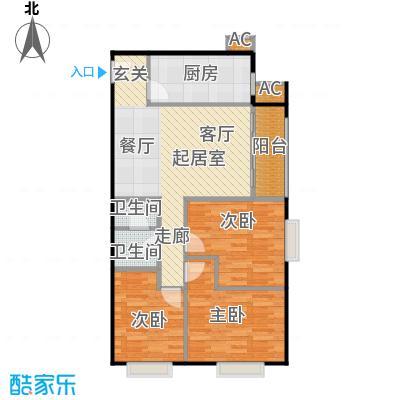 圣淘沙95.21㎡5号楼H户型三室二厅一卫户型