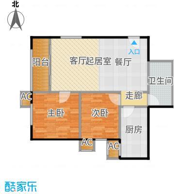 圣淘沙83.44㎡5号楼C户型二室二厅一卫户型