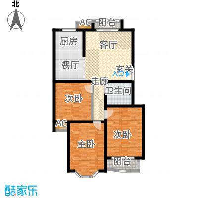 枫丹美庐三室一厅一卫 115㎡户型