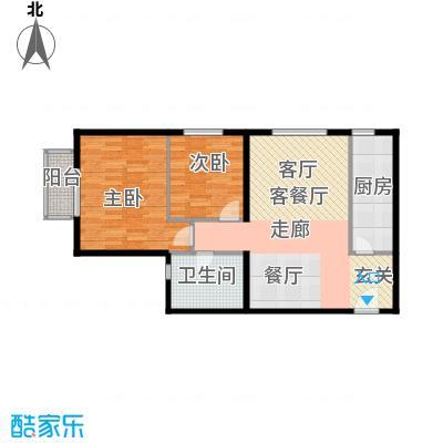 雍景山岚78.66㎡A户型2室1厅1卫1厨