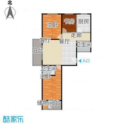 兴业苑B1户型 124.43平米 3居2厅2卫户型