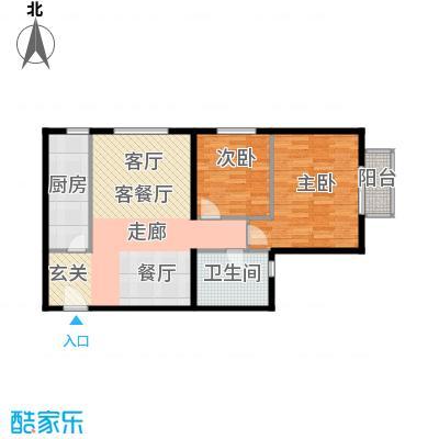 雍景山岚78.57㎡A反户型2室1厅1卫1厨