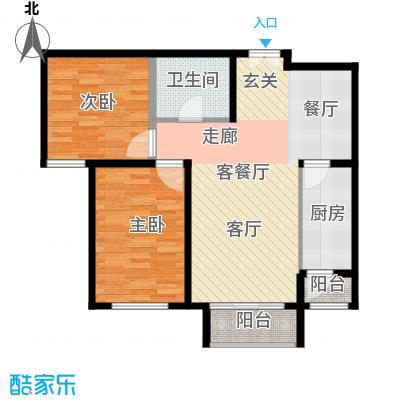 雍景山岚89.00㎡B户型2室1厅1卫1厨