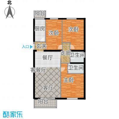 天娇美地122.00㎡2-6层3室2厅2卫户型