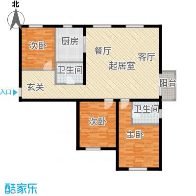 当代采育满庭春MOMAD户型三室两厅一厨两卫131平米户型3室2厅2卫