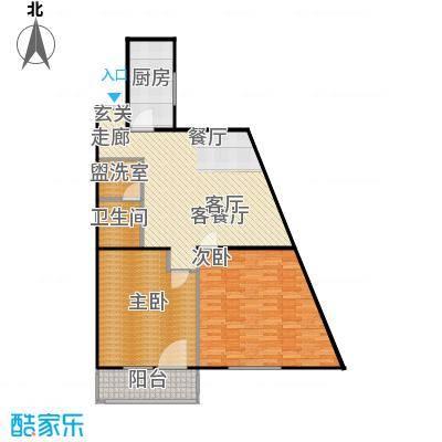 鲁谷住宅小区101.36㎡二室一厅一卫户型