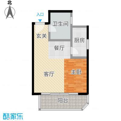 西现代城54.26㎡一室一厅一卫户型LL