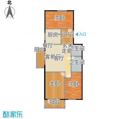 鲁谷住宅小区108.29㎡三室一厅一卫户型