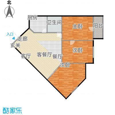 鲁谷住宅小区124.39㎡三室一厅一卫户型