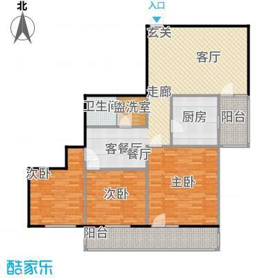 地铁古城家园114.93㎡三室二厅户型