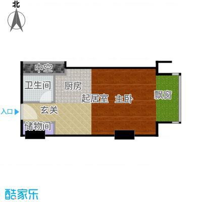 工体3号50.62㎡一室一厅一卫户型