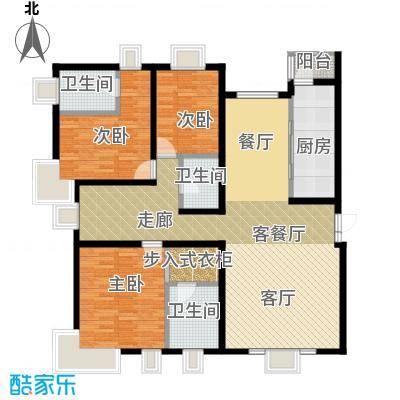 茂华�都会136.56㎡3a三居户型3室1厅3卫1厨