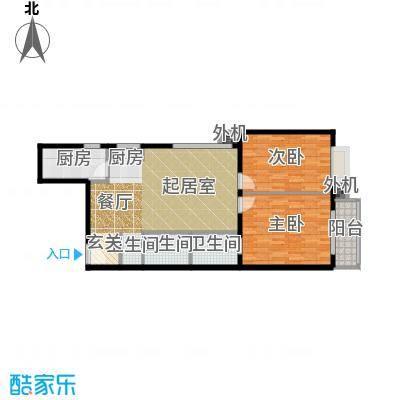天创公馆95.88㎡A-4户型二室二厅二卫户型