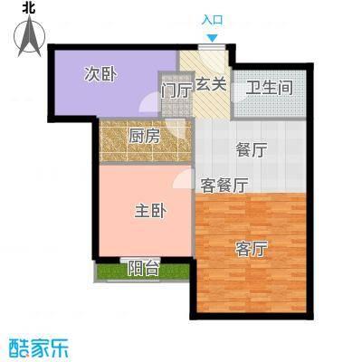 K2・玉�湾90.00㎡8号楼B3户型2室1厅1卫1厨