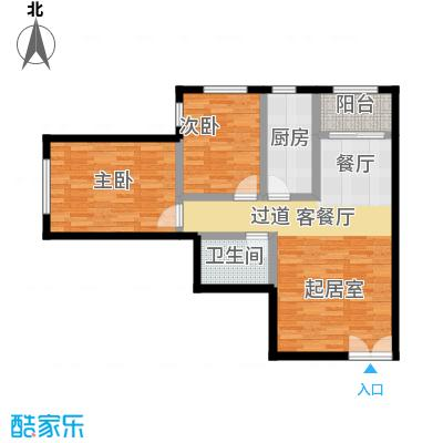 融科・钧廷76.00㎡2D户型2室2厅1卫