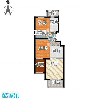 香湾(晶城秀府)E1、E1反户型三室二厅一卫(二期)户型