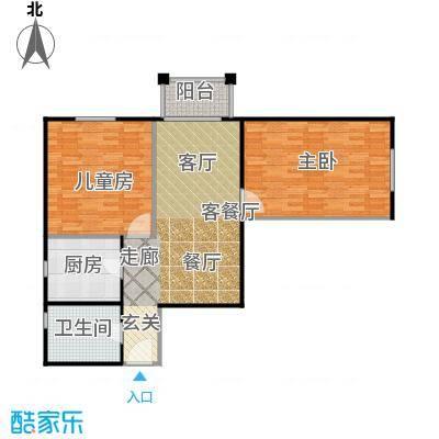永翌公馆93.00㎡12楼F户型2室1厅1卫1厨
