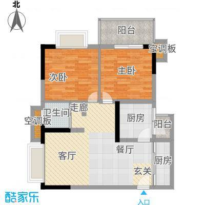 天龙广场(三期)64.10㎡房型: 二房; 面积段: 64.1 -64.1 平方米;户型