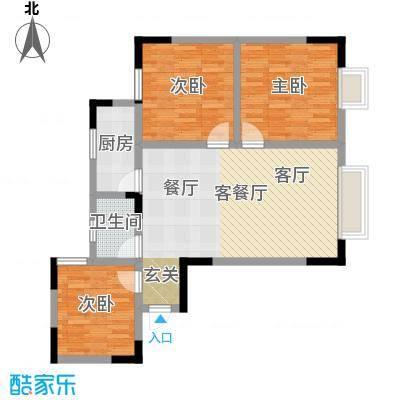 绿洲龙城(二期)79.35㎡房型: 三房; 面积段: 79.35 -112.76 平方米;户型