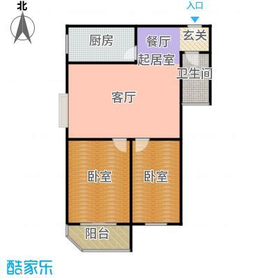 慧竹丽景86.53㎡二室二厅一卫户型
